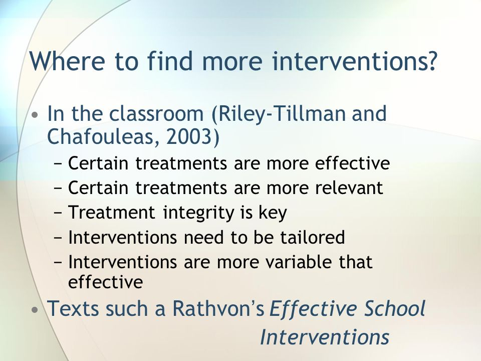 Where to find more interventions