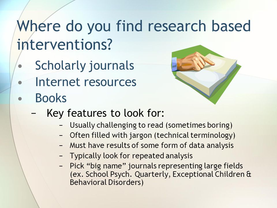 Where do you find research based interventions