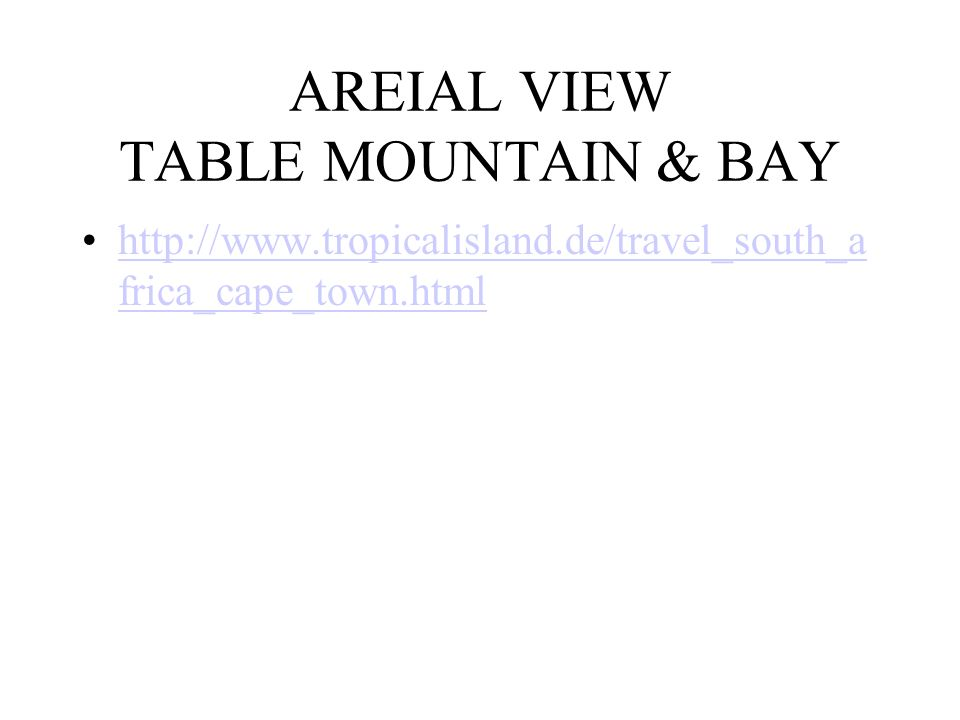 AREIAL VIEW TABLE MOUNTAIN & BAY