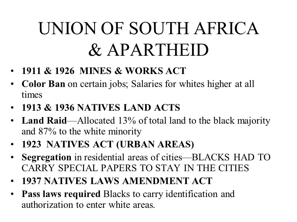 UNION OF SOUTH AFRICA & APARTHEID