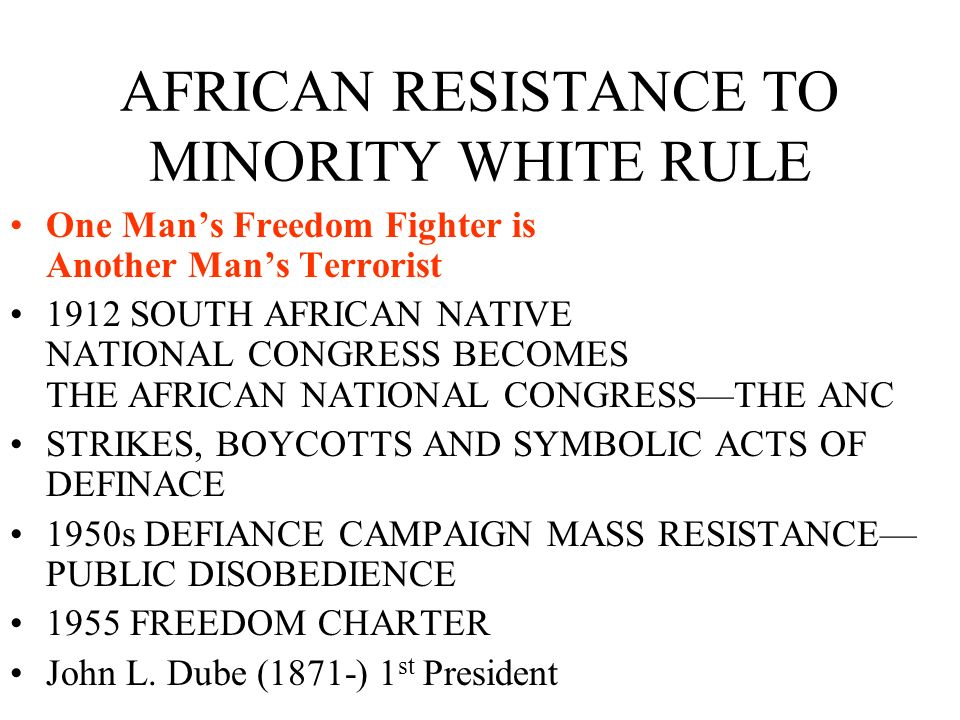 AFRICAN RESISTANCE TO MINORITY WHITE RULE