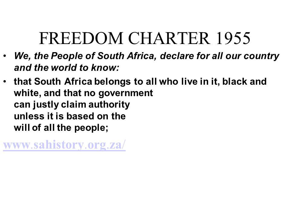 FREEDOM CHARTER 1955 www.sahistory.org.za/