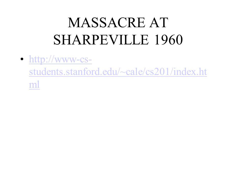 MASSACRE AT SHARPEVILLE 1960