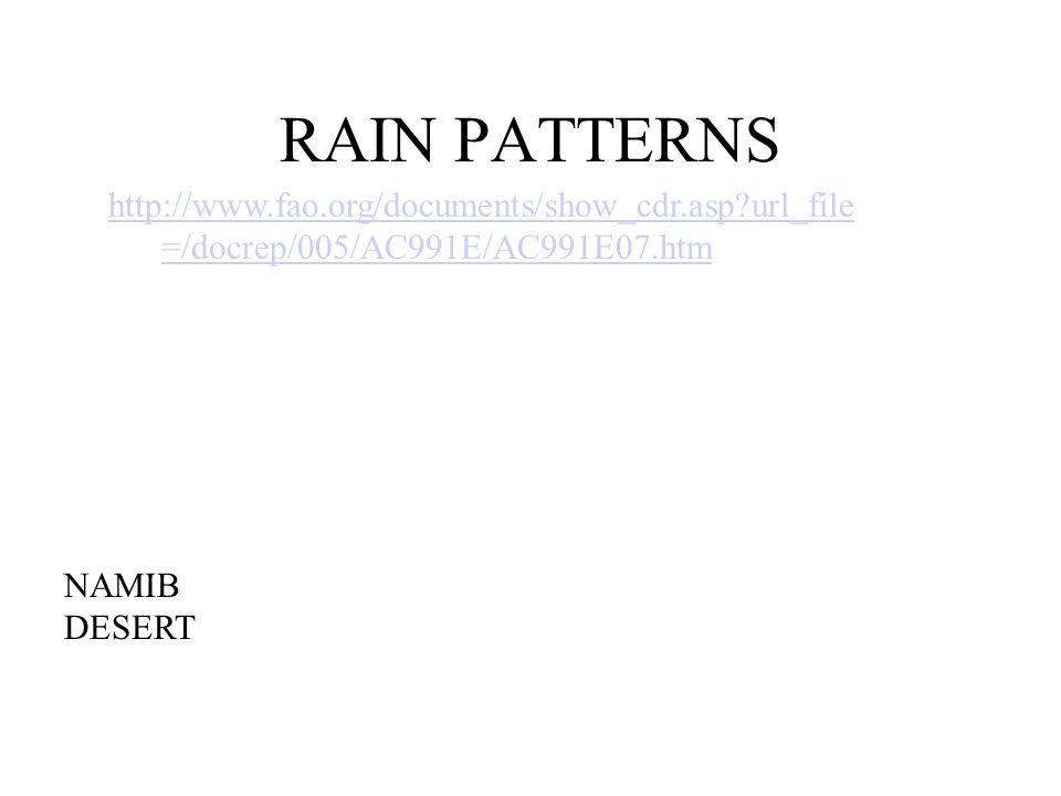 RAIN PATTERNS http://www.fao.org/documents/show_cdr.asp url_file=/docrep/005/AC991E/AC991E07.htm. GOOGLE IMAGES: FAO MAP.