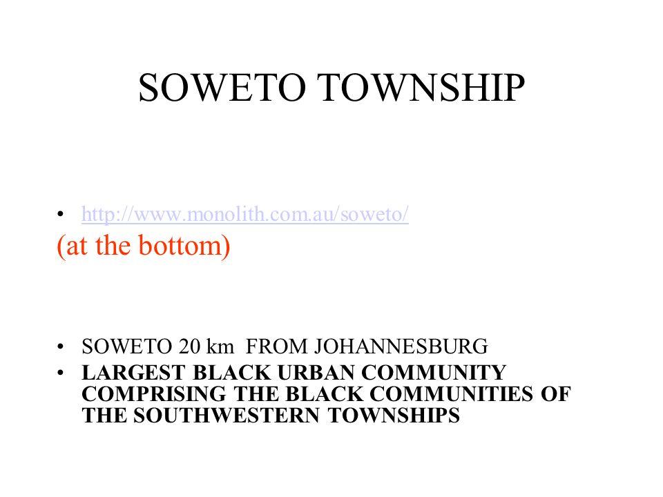 SOWETO TOWNSHIP (at the bottom) http://www.monolith.com.au/soweto/