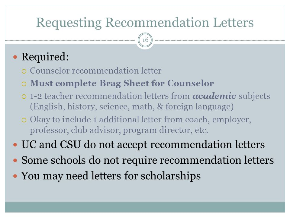 Do Uc Schools Require Letters Of Recommendation