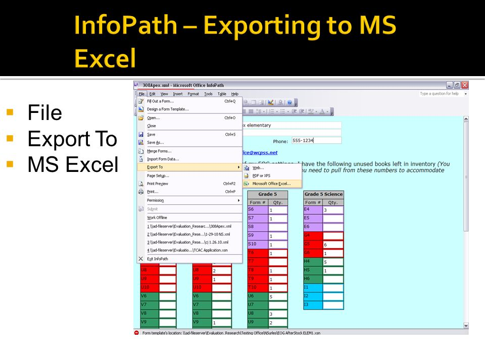 InfoPath – Exporting to MS Excel