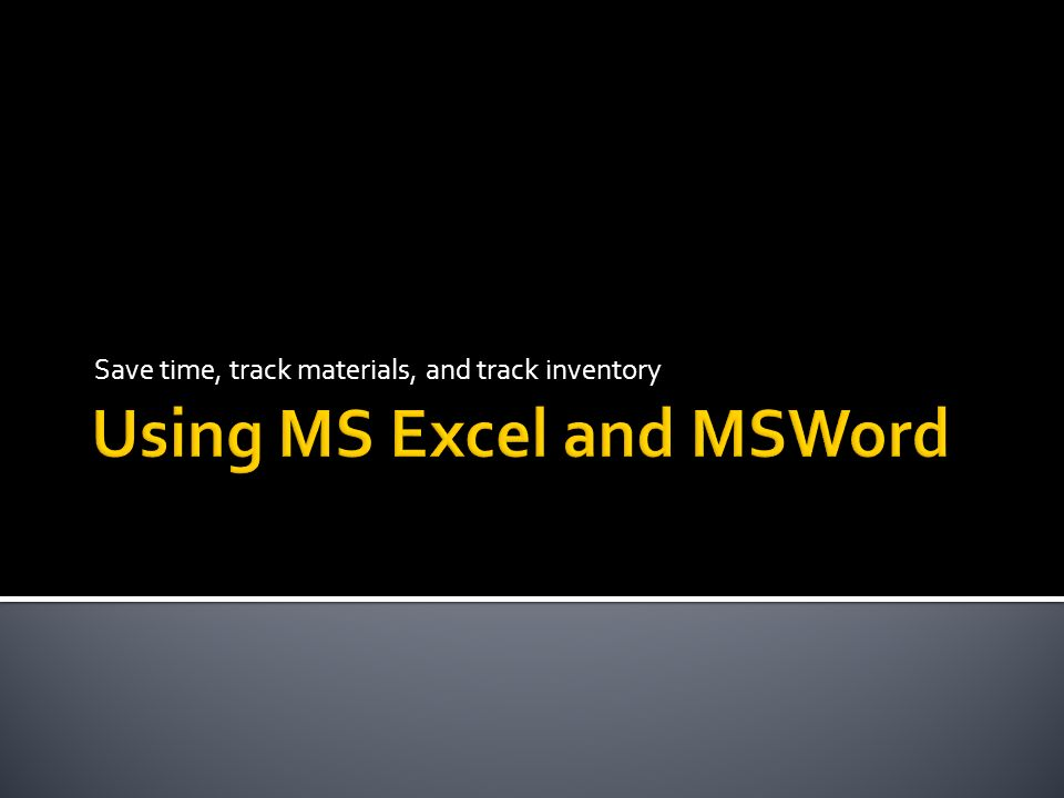 Using MS Excel and MSWord