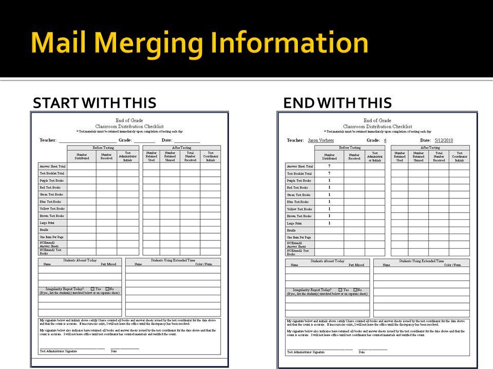 Mail Merging Information