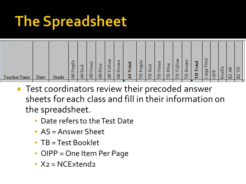 The Spreadsheet Test coordinators review their precoded answer sheets for each class and fill in their information on the spreadsheet.