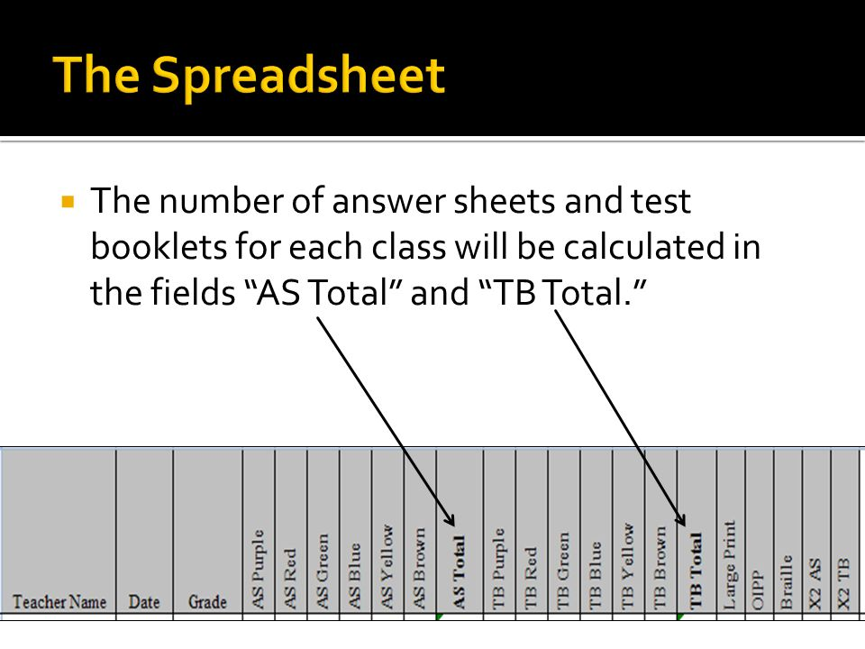 The Spreadsheet The number of answer sheets and test booklets for each class will be calculated in the fields AS Total and TB Total.