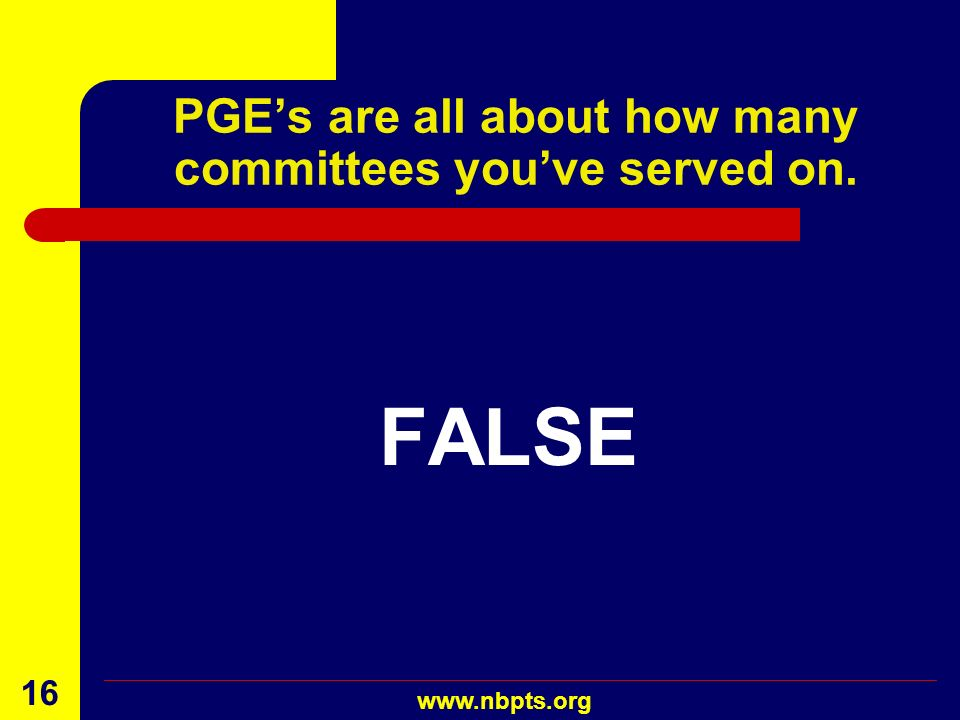 PGE's are all about how many committees you've served on.