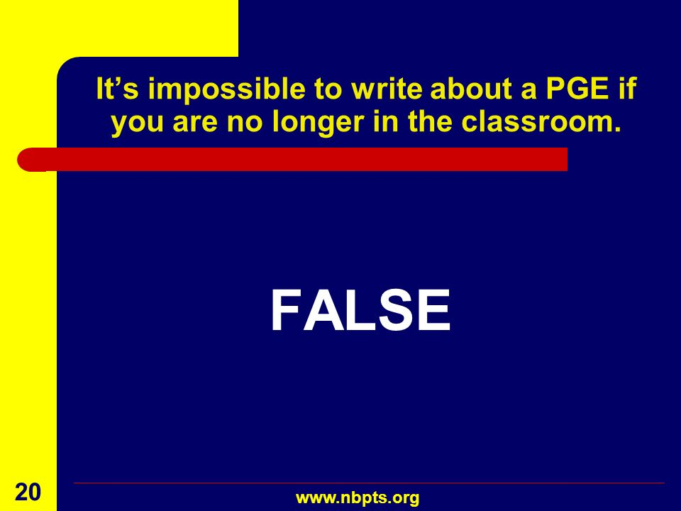 It's impossible to write about a PGE if you are no longer in the classroom.