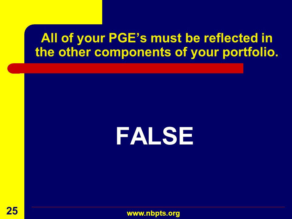 All of your PGE's must be reflected in the other components of your portfolio.