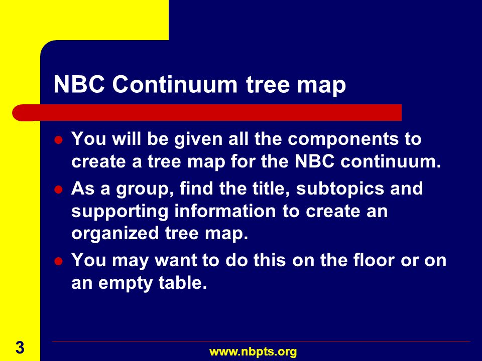 NBC Continuum tree map You will be given all the components to create a tree map for the NBC continuum.