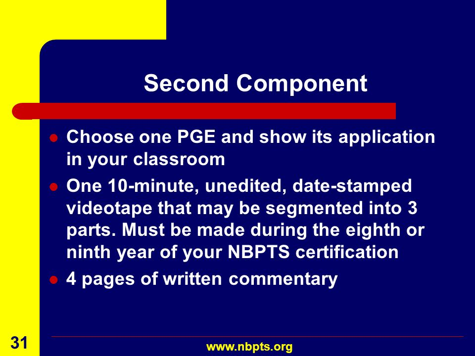 Second Component Choose one PGE and show its application in your classroom.