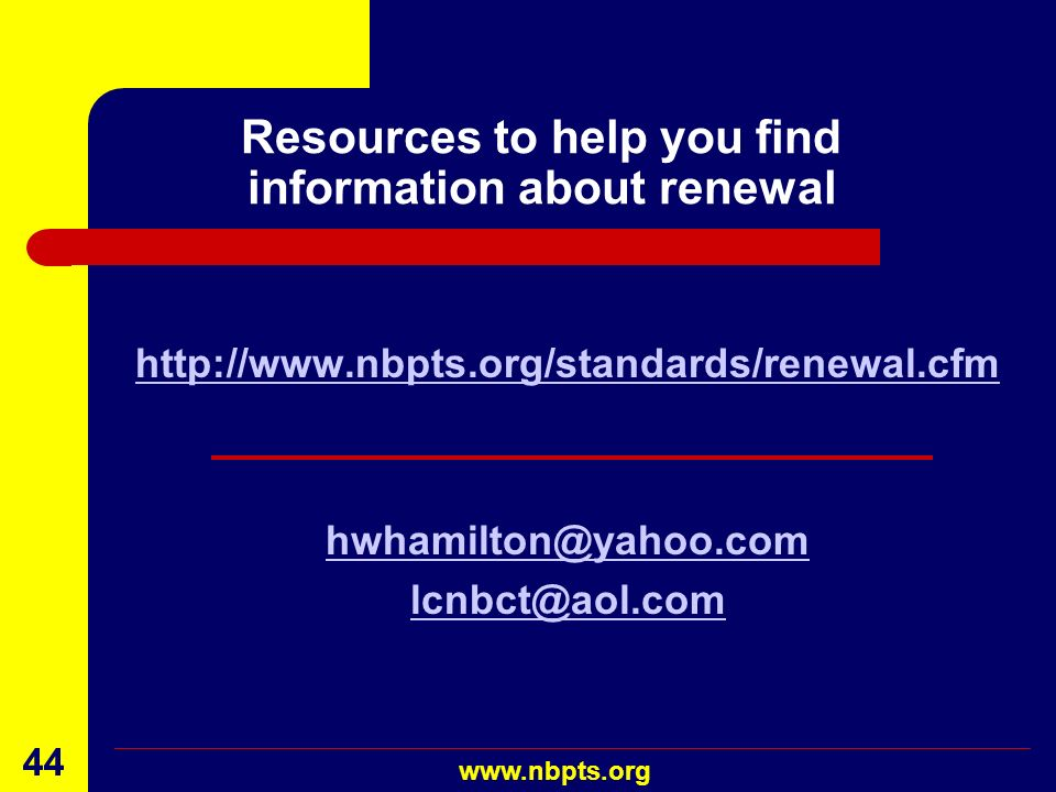 Resources to help you find information about renewal