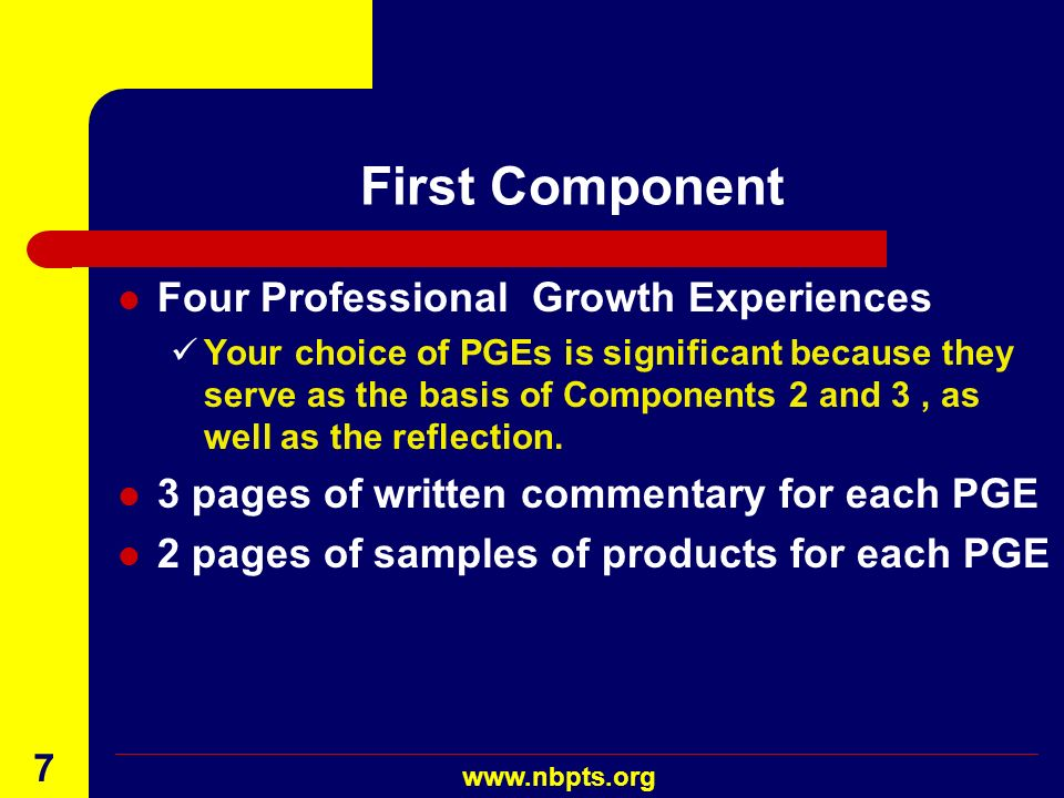 First Component Four Professional Growth Experiences