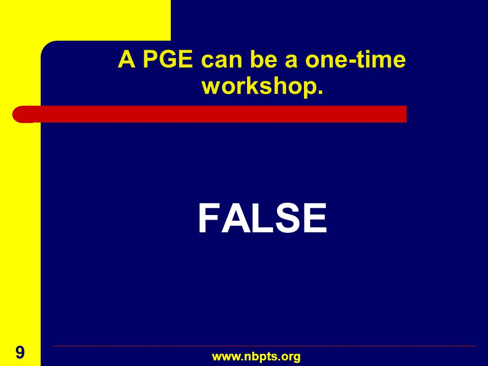 A PGE can be a one-time workshop.