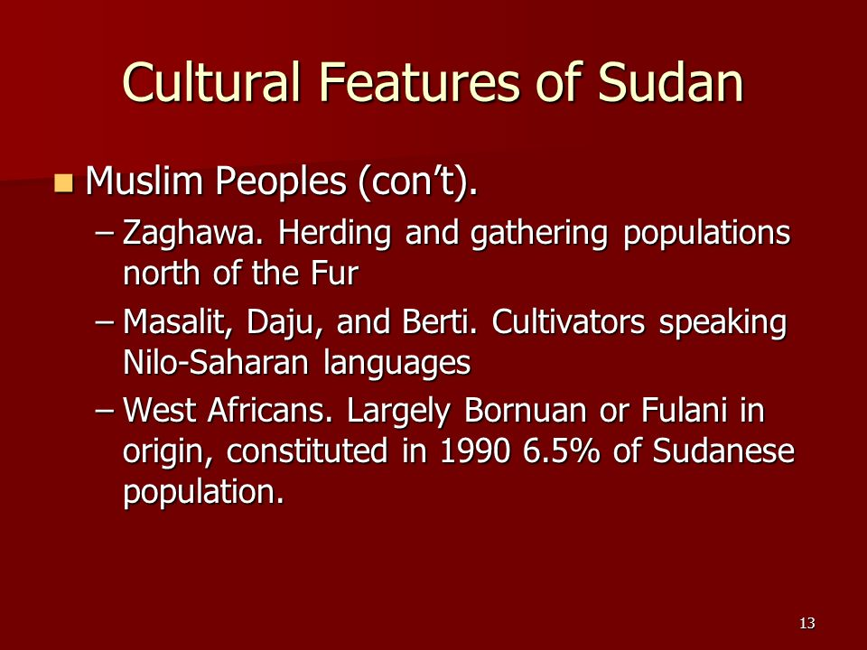 Cultural Features of Sudan