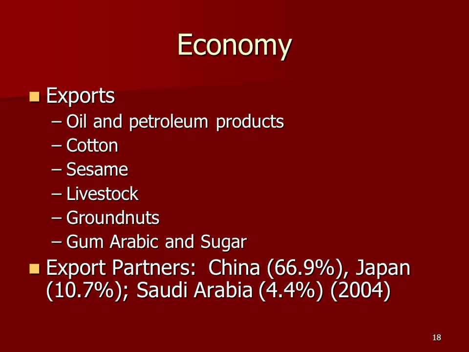 Economy Exports. Oil and petroleum products. Cotton. Sesame. Livestock. Groundnuts. Gum Arabic and Sugar.