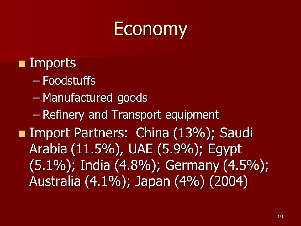 Economy Imports. Foodstuffs. Manufactured goods. Refinery and Transport equipment.