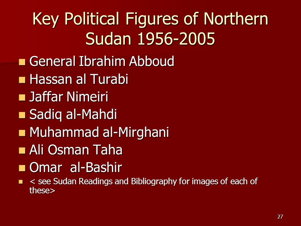 Key Political Figures of Northern Sudan