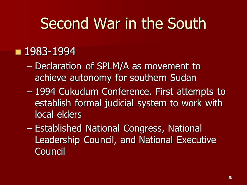 Second War in the South 1983-1994