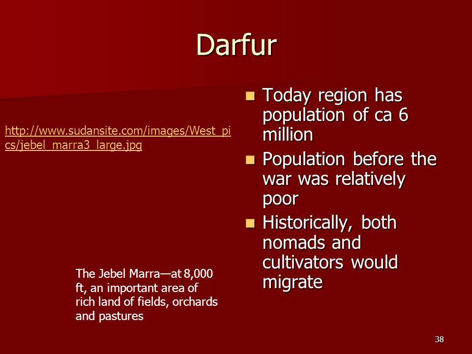 Darfur Today region has population of ca 6 million