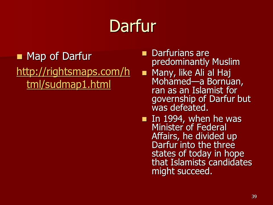 Darfur Map of Darfur http://rightsmaps.com/html/sudmap1.html