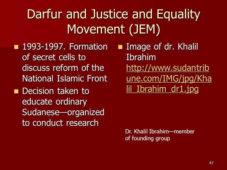 Darfur and Justice and Equality Movement (JEM)
