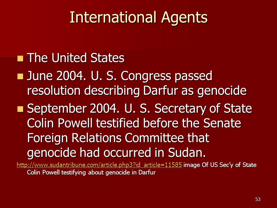 International Agents The United States