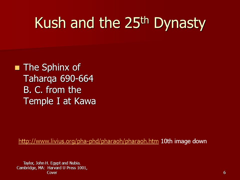 Kush and the 25th Dynasty The Sphinx of Taharqa 690-664 B. C. from the Temple I at Kawa.