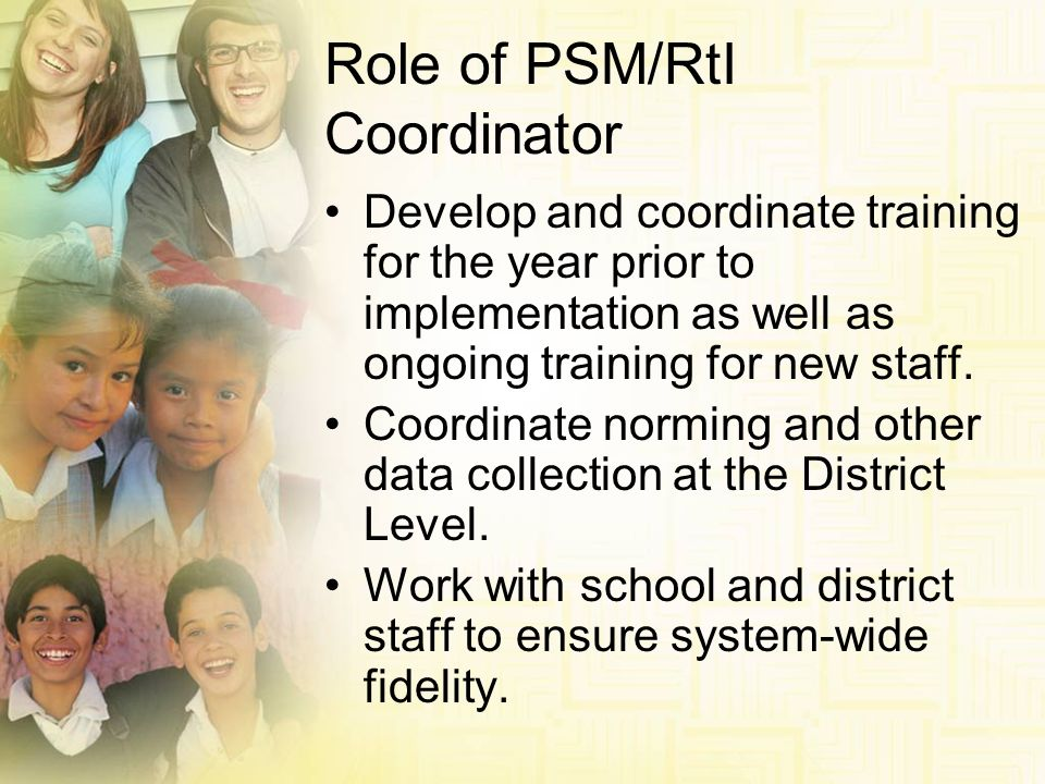 Role of PSM/RtI Coordinator