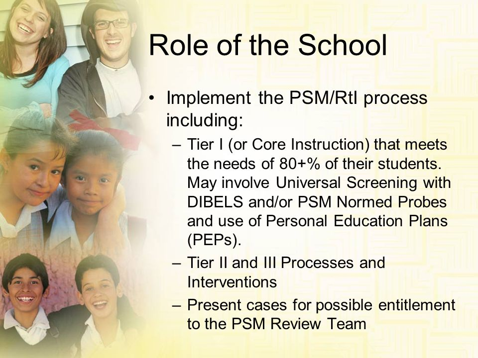 Role of the School Implement the PSM/RtI process including: