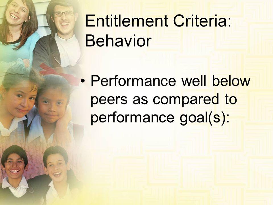 Entitlement Criteria: Behavior
