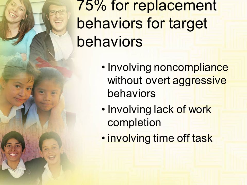 75% for replacement behaviors for target behaviors