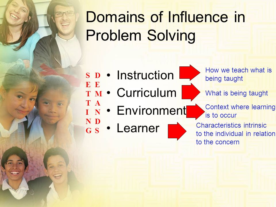 Domains of Influence in Problem Solving