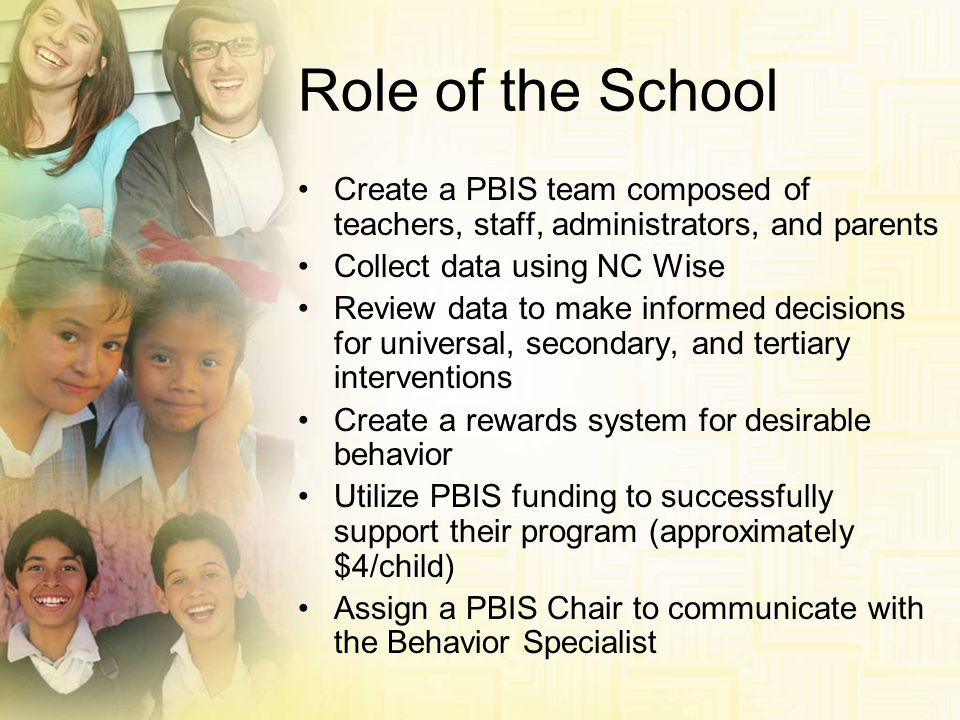 Role of the School Create a PBIS team composed of teachers, staff, administrators, and parents. Collect data using NC Wise.