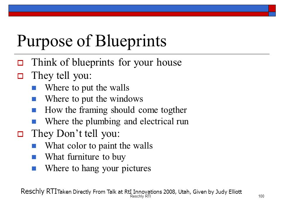 Purpose of Blueprints Think of blueprints for your house