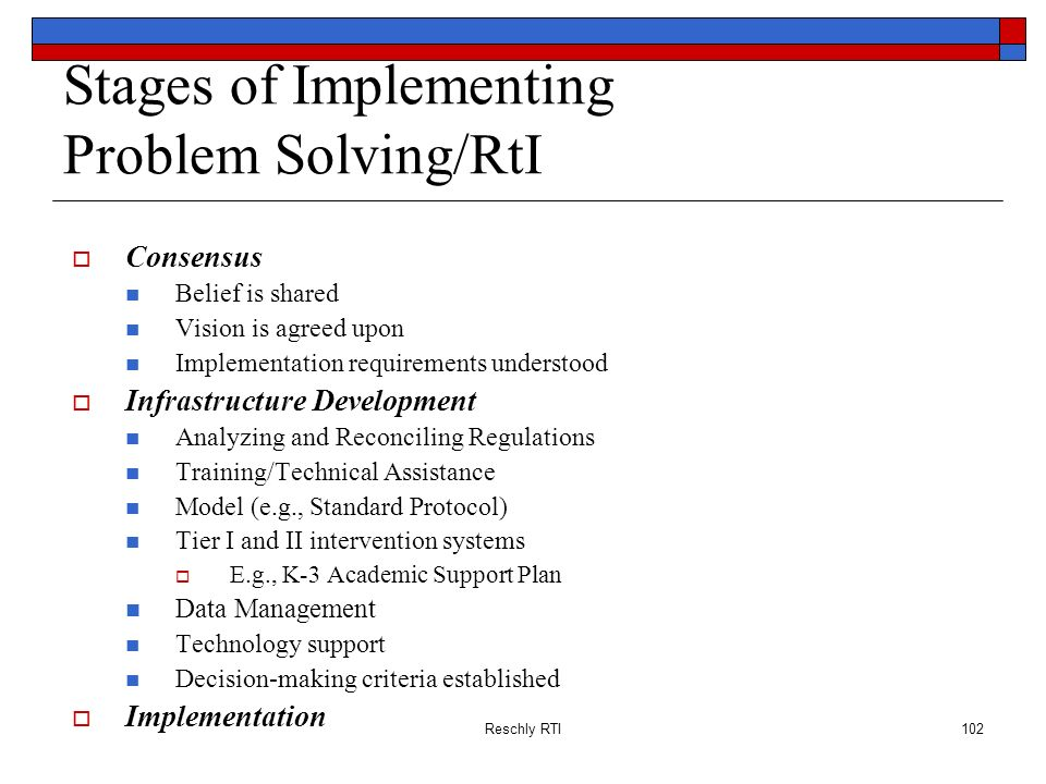 Stages of Implementing Problem Solving/RtI