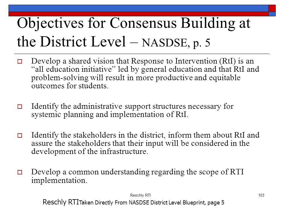 Objectives for Consensus Building at the District Level – NASDSE, p. 5