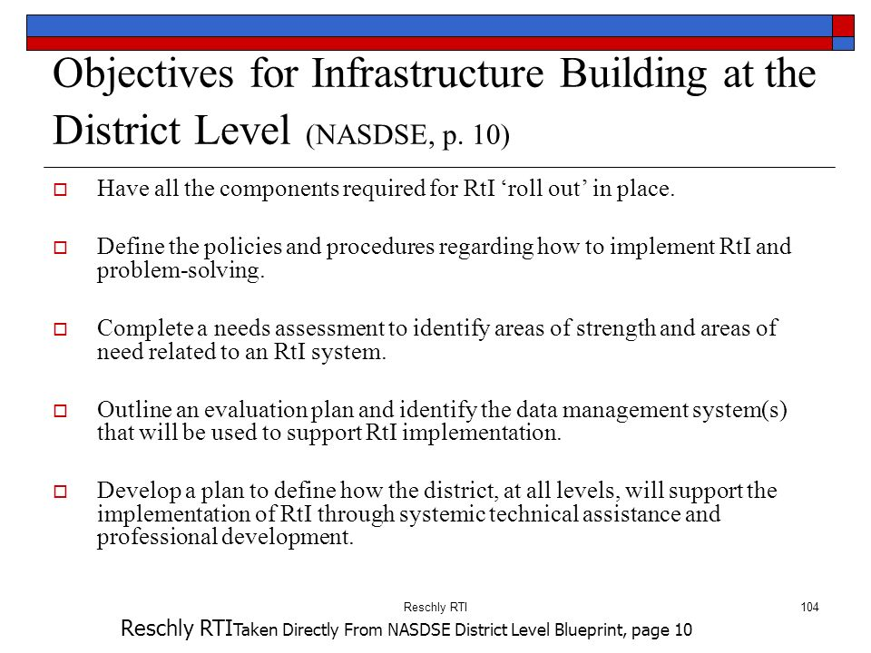 Objectives for Infrastructure Building at the District Level (NASDSE, p. 10)