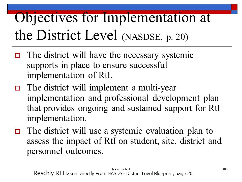 Objectives for Implementation at the District Level (NASDSE, p. 20)