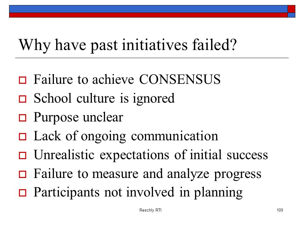 Why have past initiatives failed