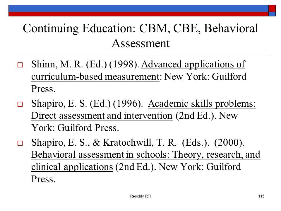 Continuing Education: CBM, CBE, Behavioral Assessment