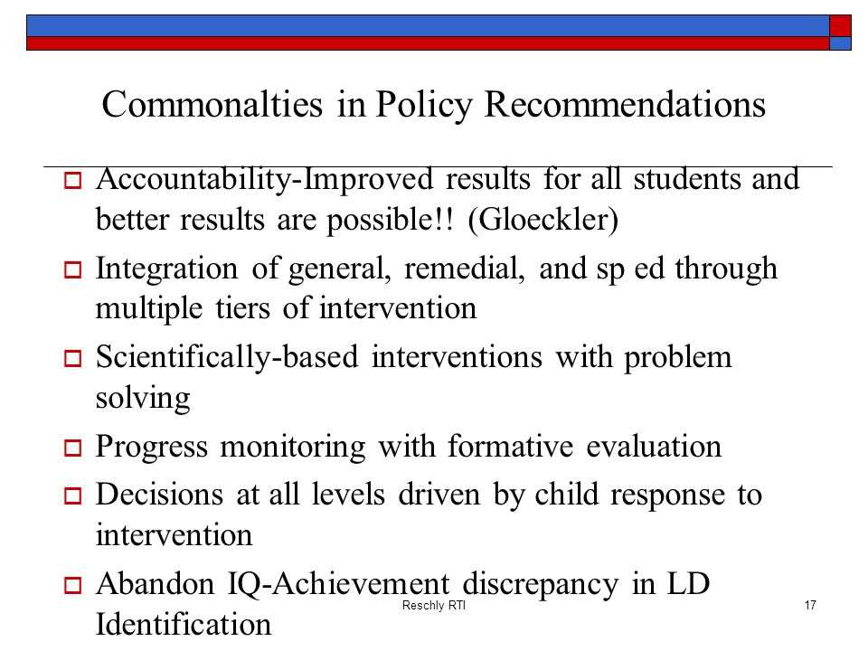 Commonalties in Policy Recommendations