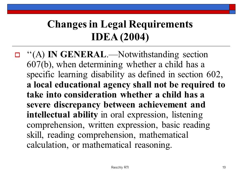 Changes in Legal Requirements IDEA (2004)
