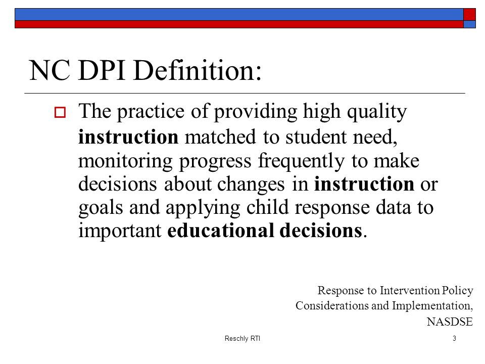 NC DPI Definition: