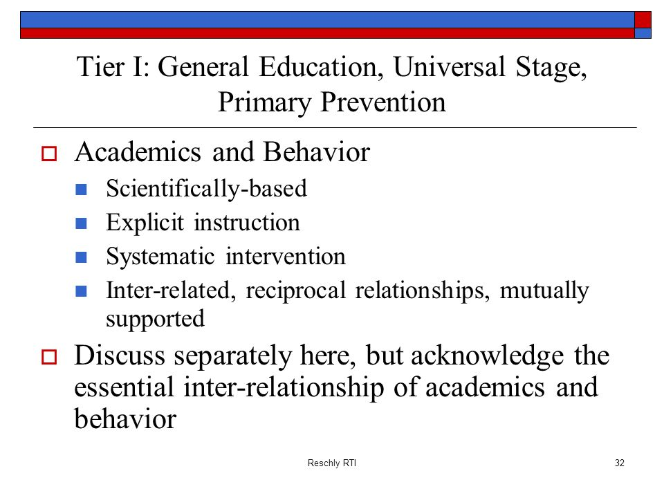 Tier I: General Education, Universal Stage, Primary Prevention